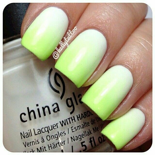 NEON LIME OMBRE | Makeup/Nails Inspiration <3 | Pinterest