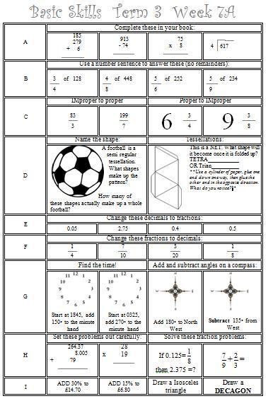 Basic Skills Maths Ks2 Y5 Y6 Y7 Grade 5 Grade 6 Grade 7 Four Functions Fractions Decimals Improper Fractions Proper Fracti Proper Fractions Math Math Worksheet