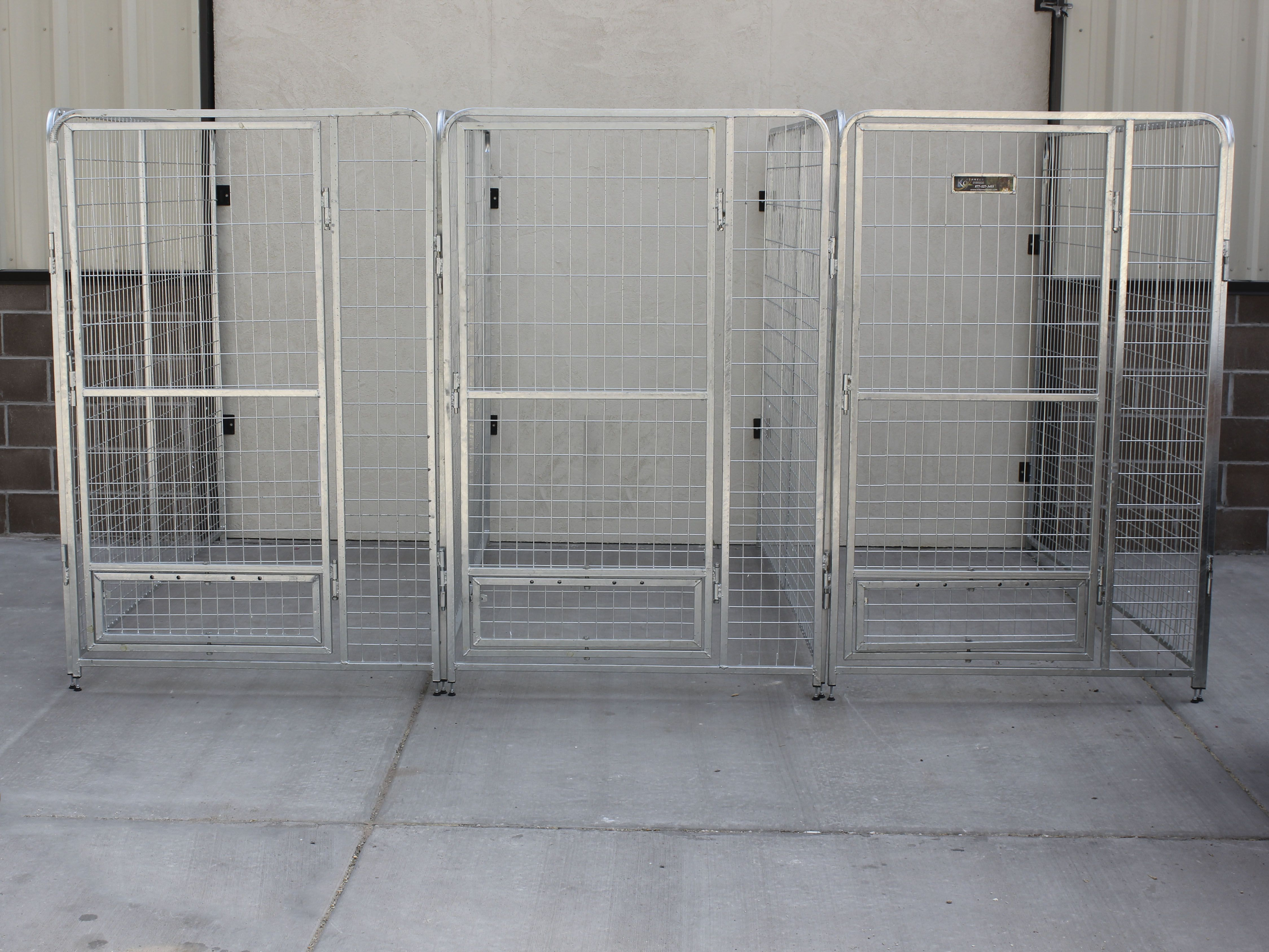 K9 Kennel Inline Dog Kennel System With No Backs Using Wall Mount