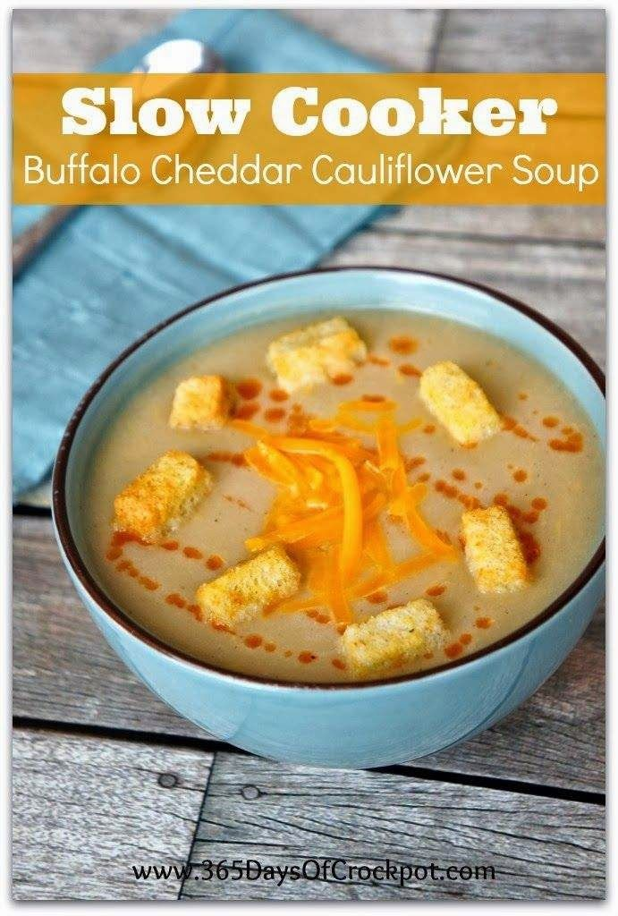 Slow Cooker Buffalo Cheddar Cauliflower Soup from 365 Days of Slow Cooking; sounds spicy and delicious!  [via Slow Cooker from Scratch] #MeatlessMonday #SlowCooker