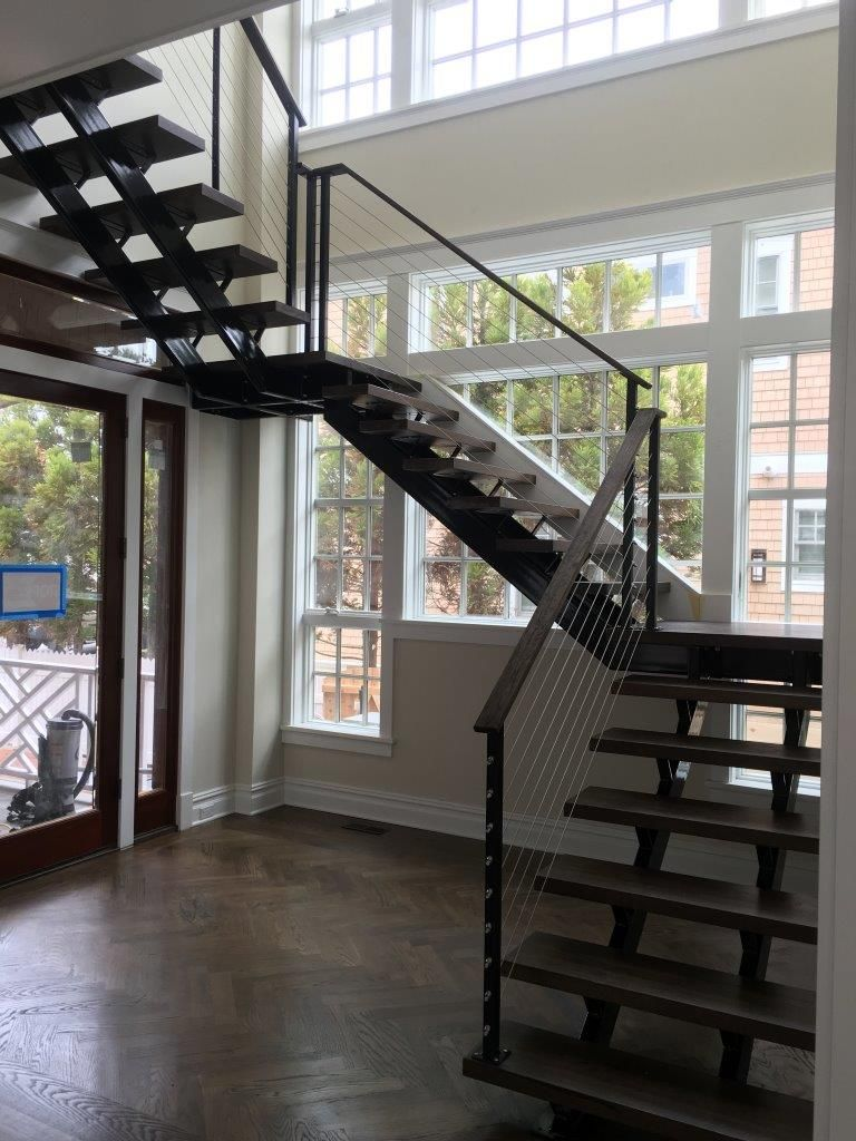 custom floating staircase wire railings provided by customer  [ 768 x 1024 Pixel ]