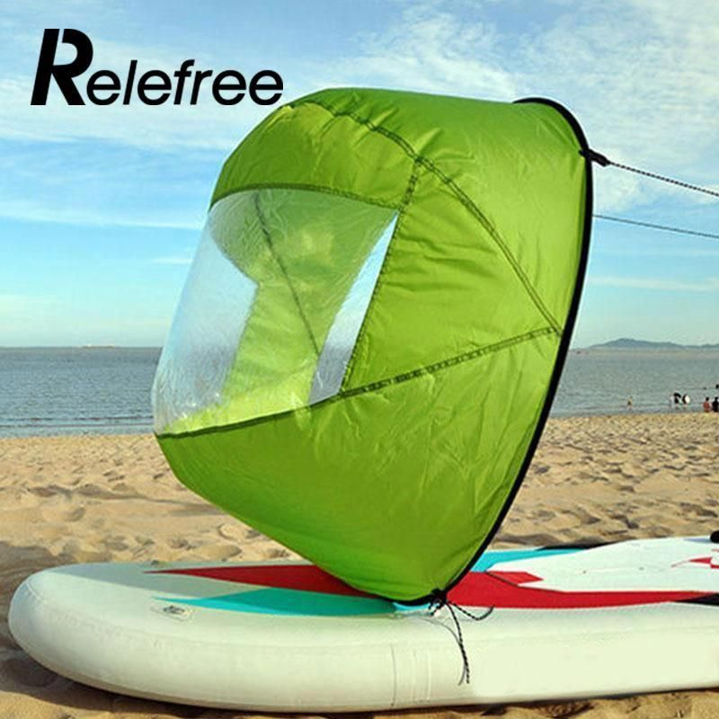 42 Inch Downwind Wind Sail Kit Kayak Wind Boat PVC Paddle with Clear Window NQ