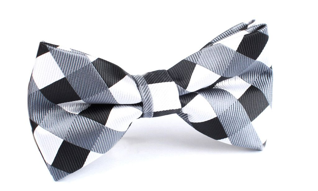 Men/'s Bowtie Blue Black White Gingham Self tied Bow Ties Wedding Checkered Tie