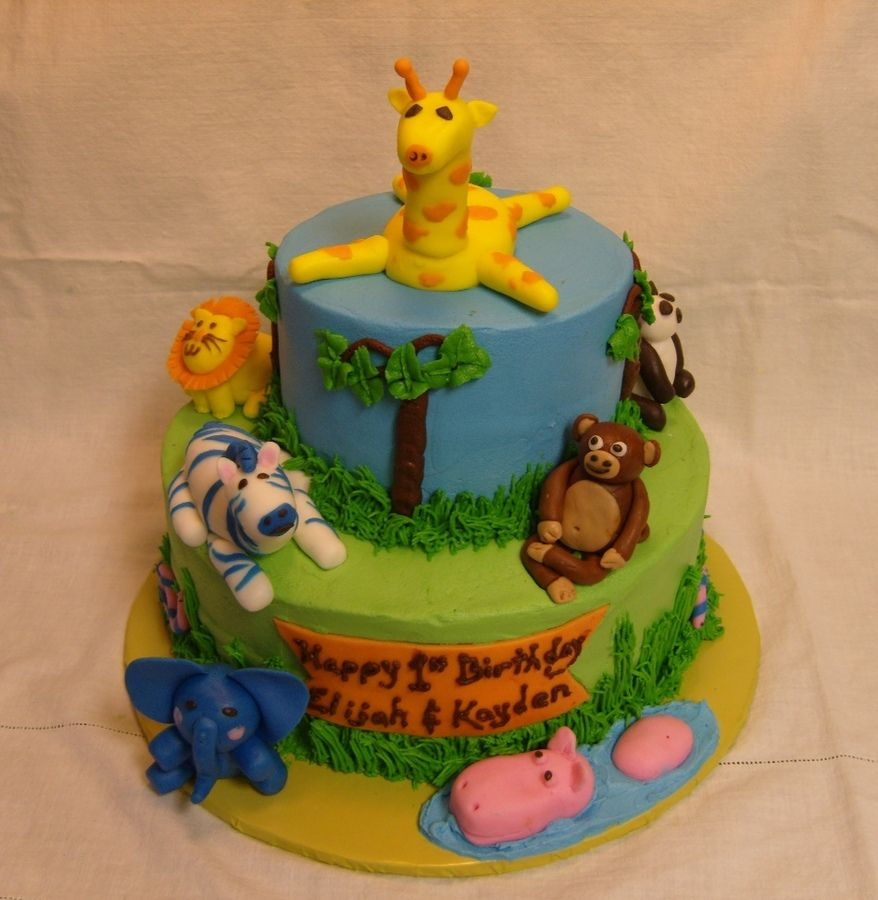 1st Birthday Cakes for Boys Jungle Theme 1st Birthday Cake with