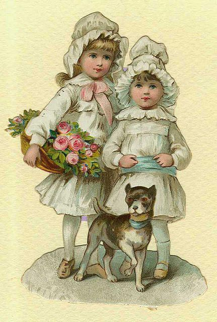 Girls with basket of roses & a small dog