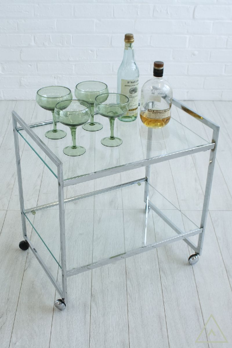 Chrome framed drinks trolley or side table with 2 glass shelves and ...