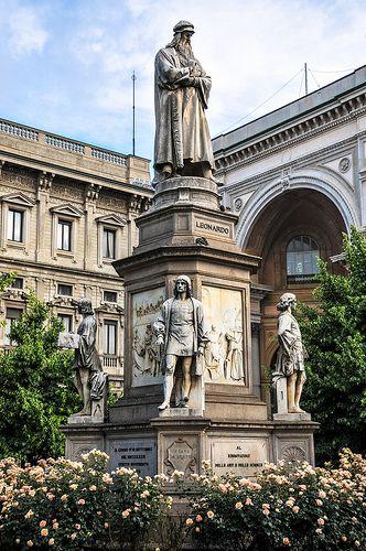 Monument to Leonardo da Vinci by Pietro Magni, 1872 at Piazza della Scala, Milan, Italy