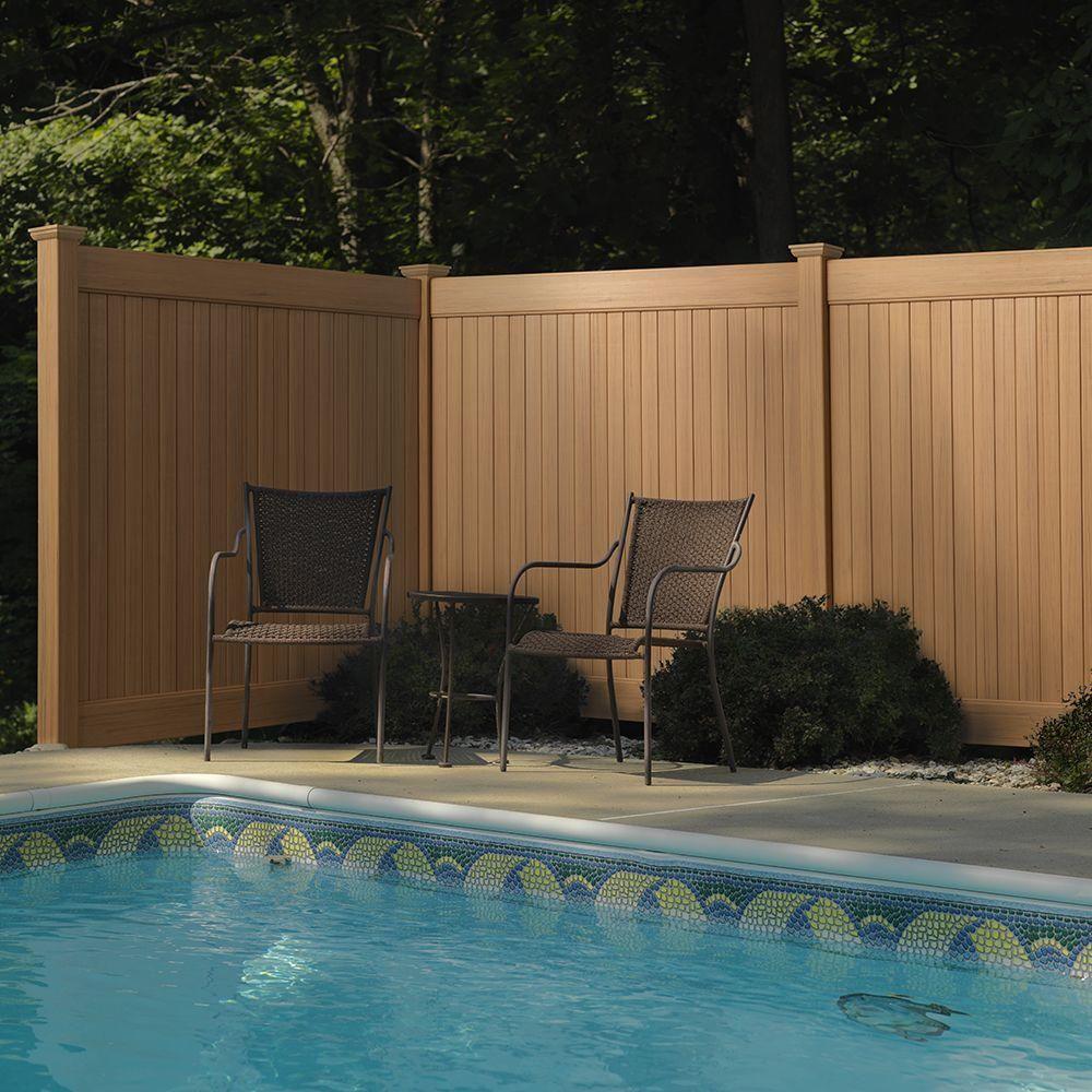 6 ft. H x 8 ft. W Cedar Grove Natural Cedar Vinyl Privacy Fence ...