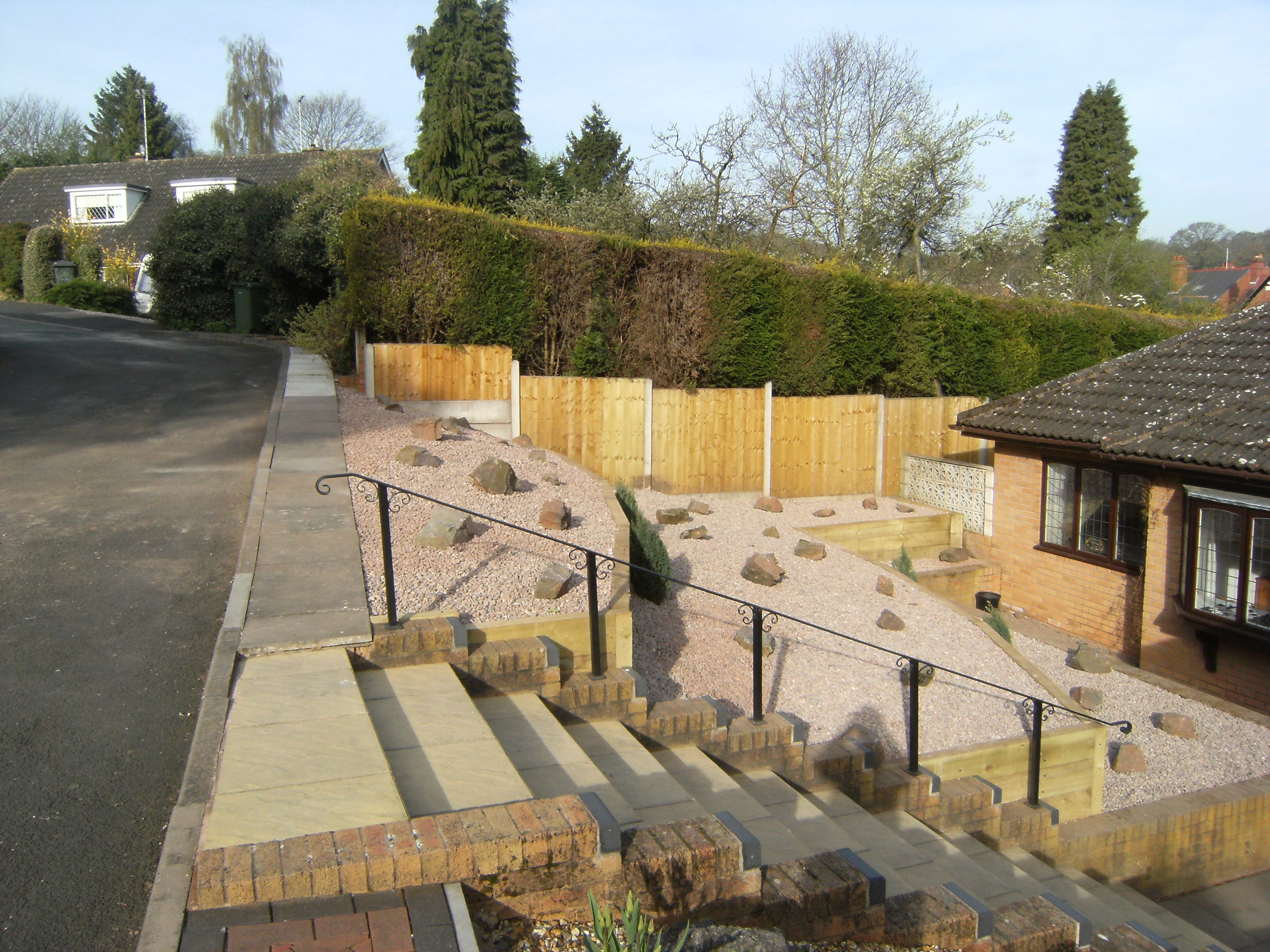Steep Gardens Steep Sloped Garden Bank Replaced With Treated