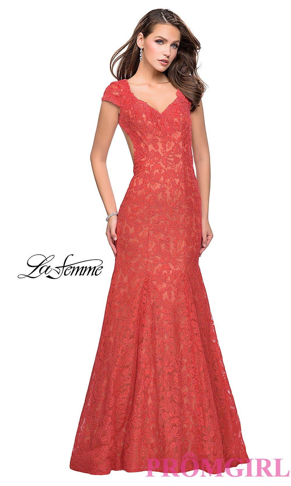 Lace mermaid gown la femme long prom dresses promgirl african