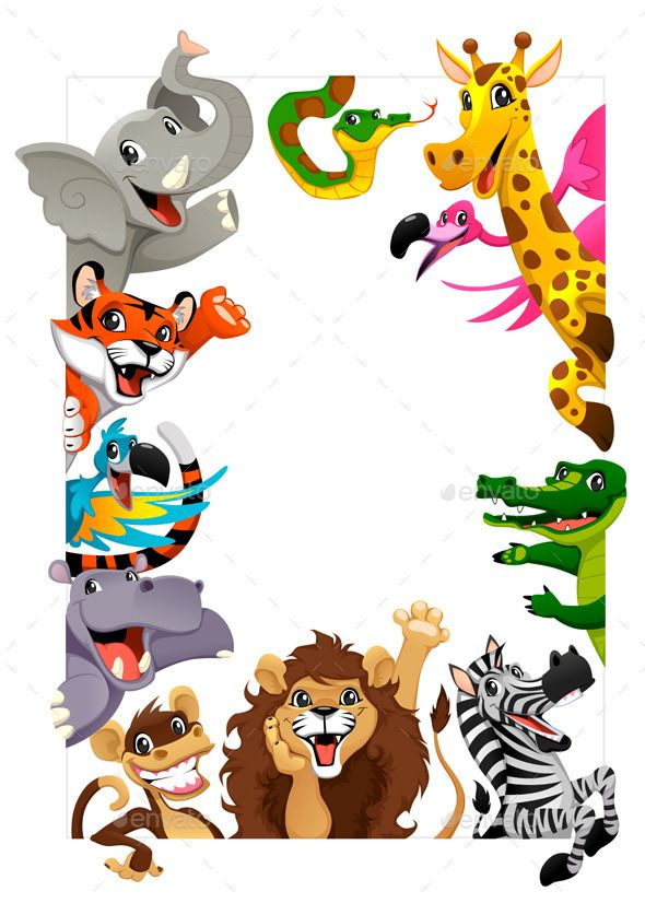 Funny group of Jungle animals Cartoon vector illustration