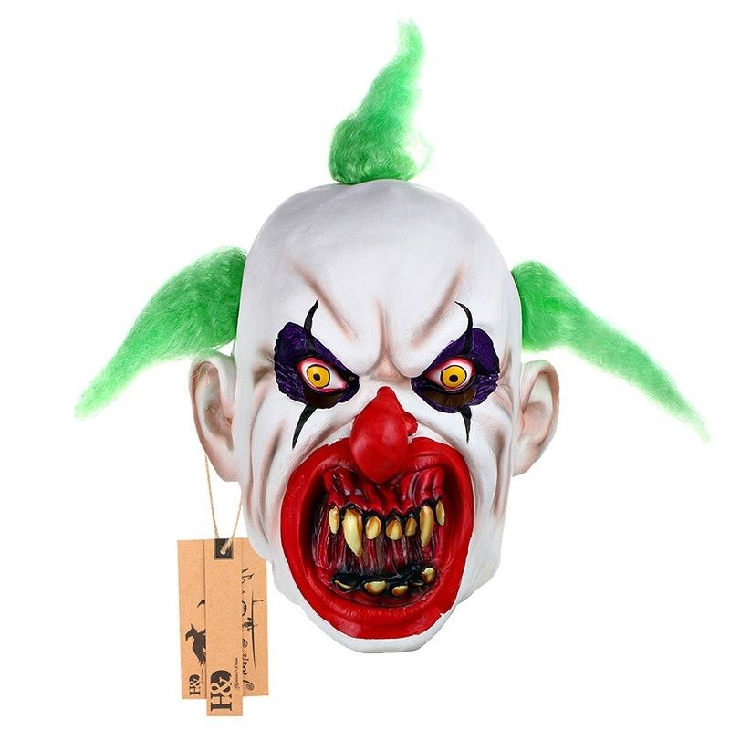 Halloween Mask Scary Clown Green Hair Buck teeth Full Face Horror ...