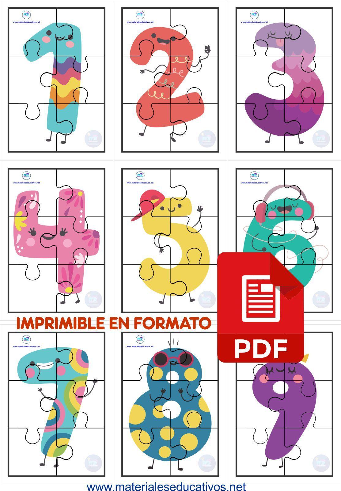 Rompecabezas De Números Del 1 Al 10 A Colores Y Formas Rompecabezas De Números Actividades De Educación Especial Actividades Para Niños Preescolar