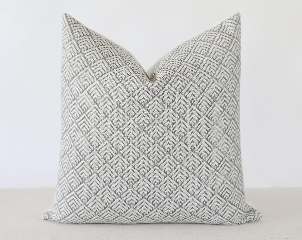 Accent Cushion Gray Pillow Cover 20x20 22x22 or Lumbar Pillowcase Geometric Graphic Charcoal Grey Throw Pillow with Zipper 18x18
