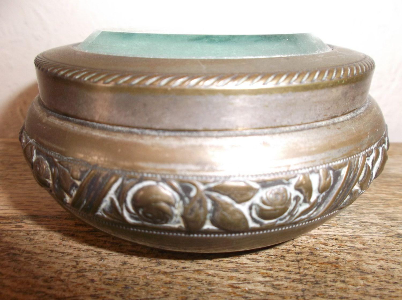 Antique glass and brass boudoir dressing vanity table container antique glass and brass boudoir dressing vanity table container geotapseo Gallery
