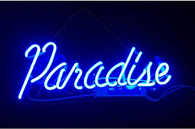 Blue Paradise Real Glass Neon Sign Beer Bar Pub Store Home Room