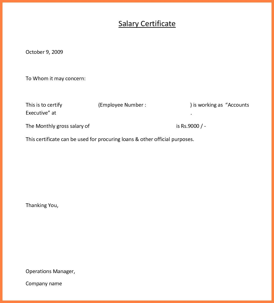 10 Salary Certificate Templates For Employer Pdf Doc With