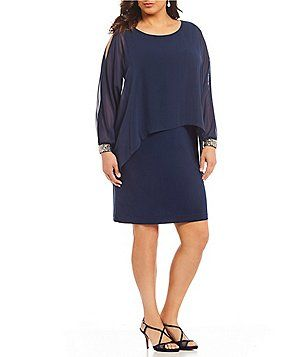 63485780aa4 Ignite Evenings Plus Size Beaded Cuff Popover Dress Tiered Jackets