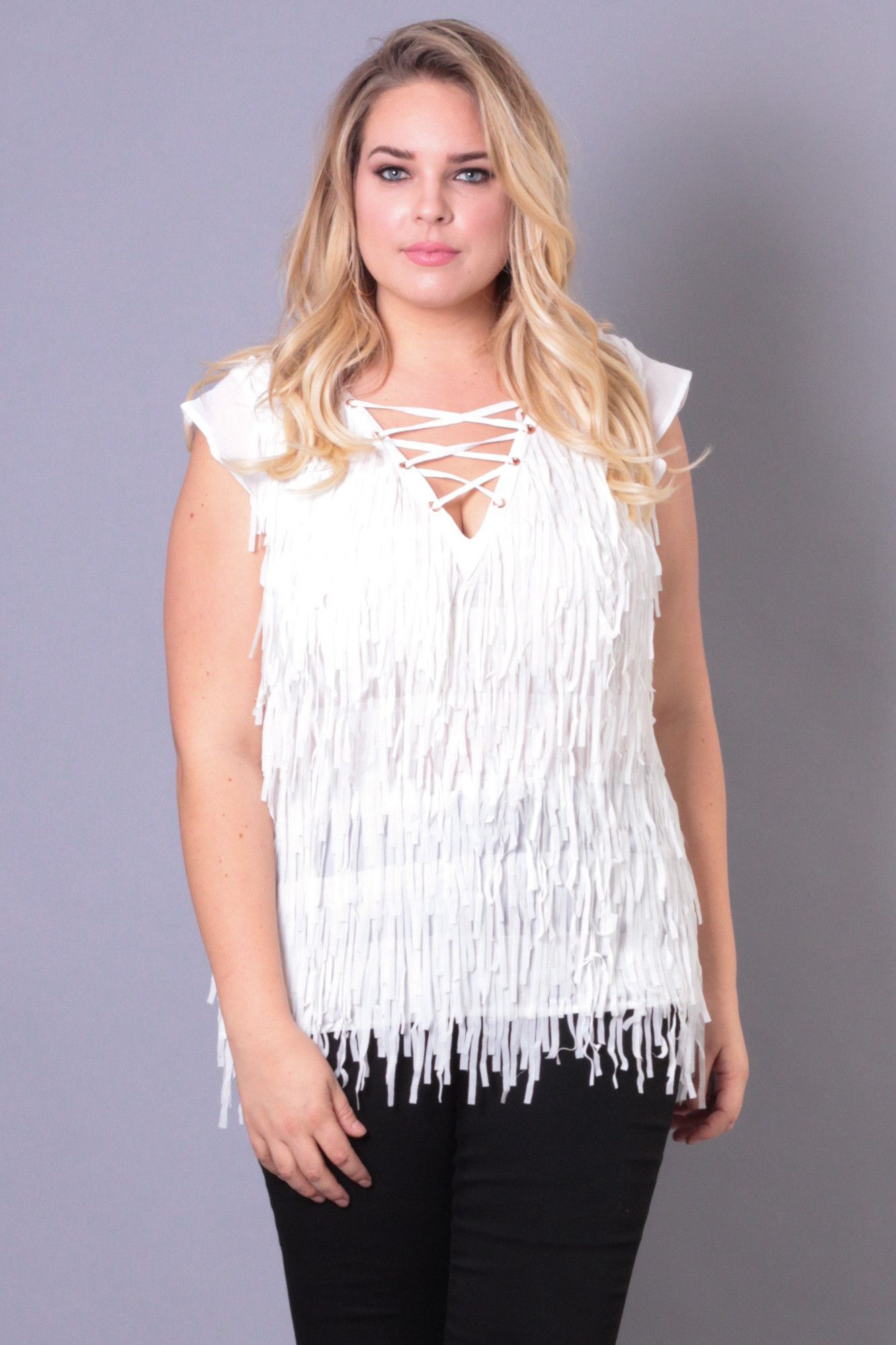 Plus size front fringe laceup top white front fringe and products