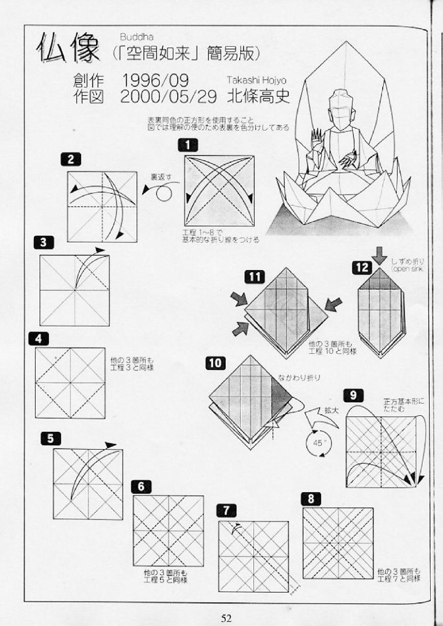 Origami Buddha Diagrams Kirigami Diagram Instructions Diagrammes Elephant Diy Paper