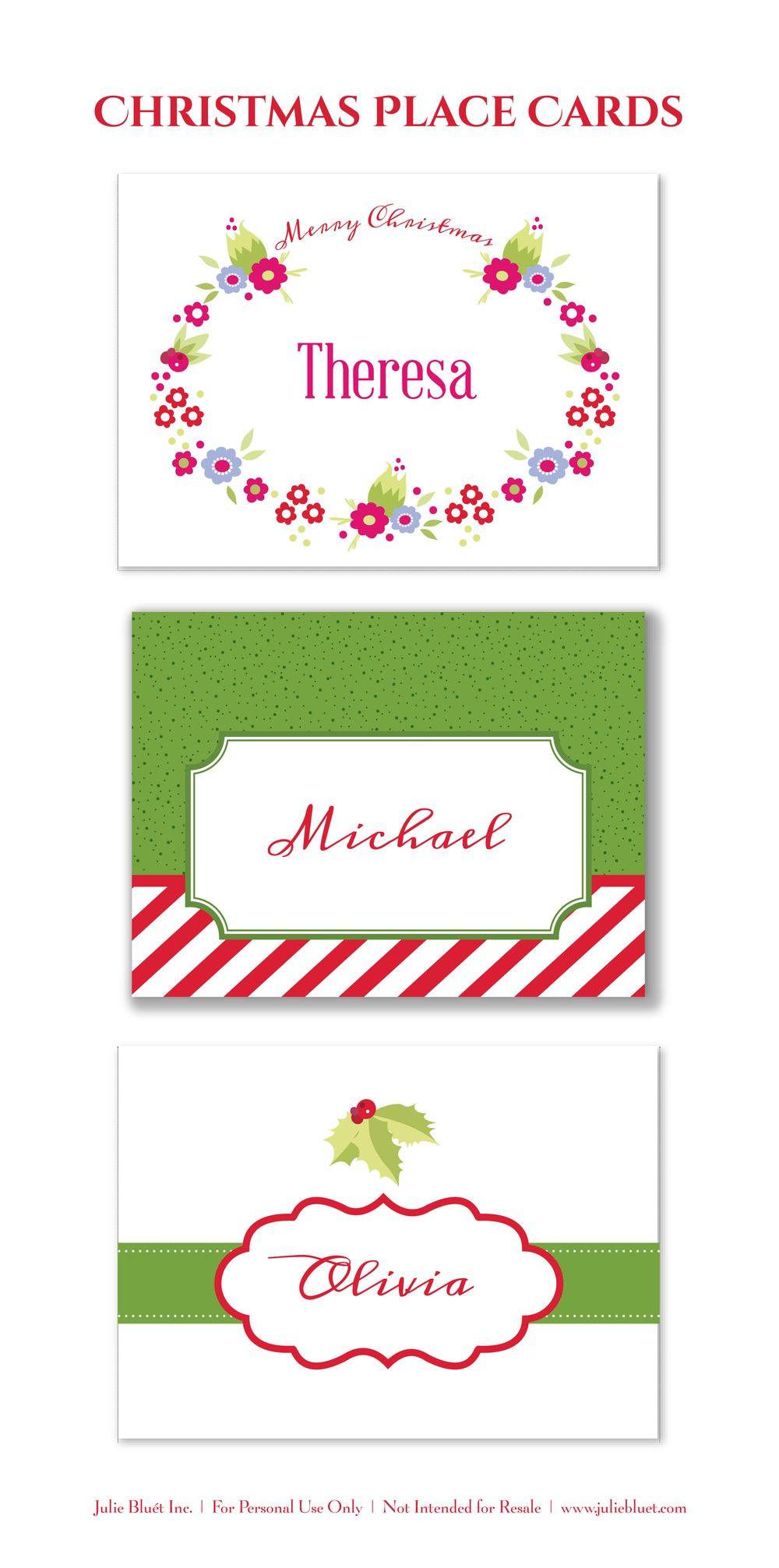 Here are three free printable Christmas place cards for your holiday ...