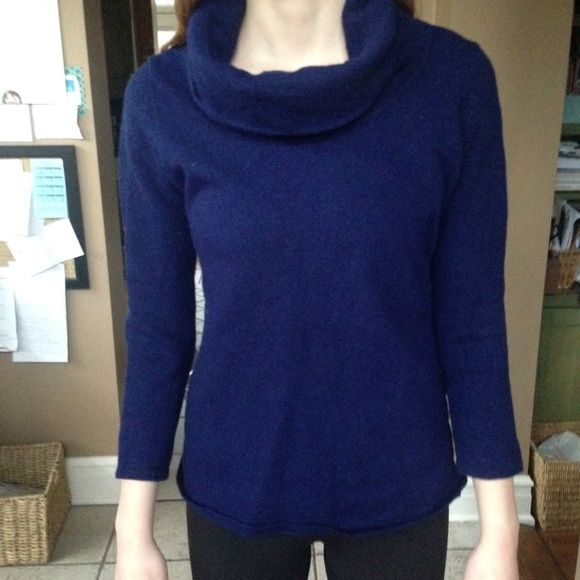 Navy blue merino wool cowl neck sweater | Merino wool, Cowl neck ...