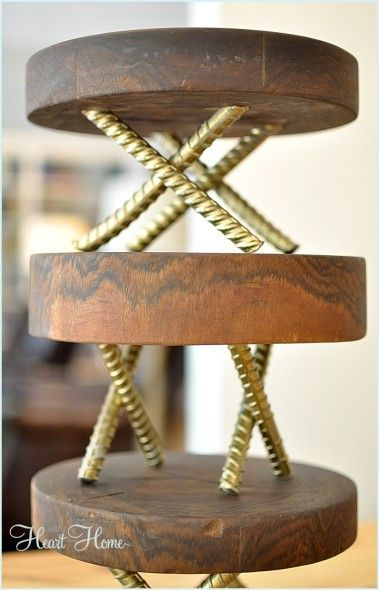 Love The Mix Of Rustic Wood With Gold Legs Who Would Have Thought Rebar Could Look So Chic