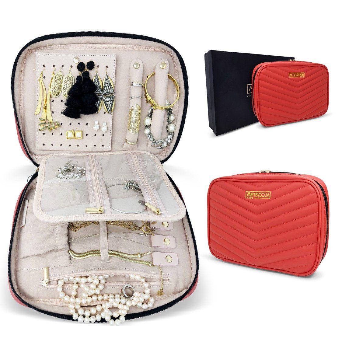 Jewelry organizer travel leather case storage red
