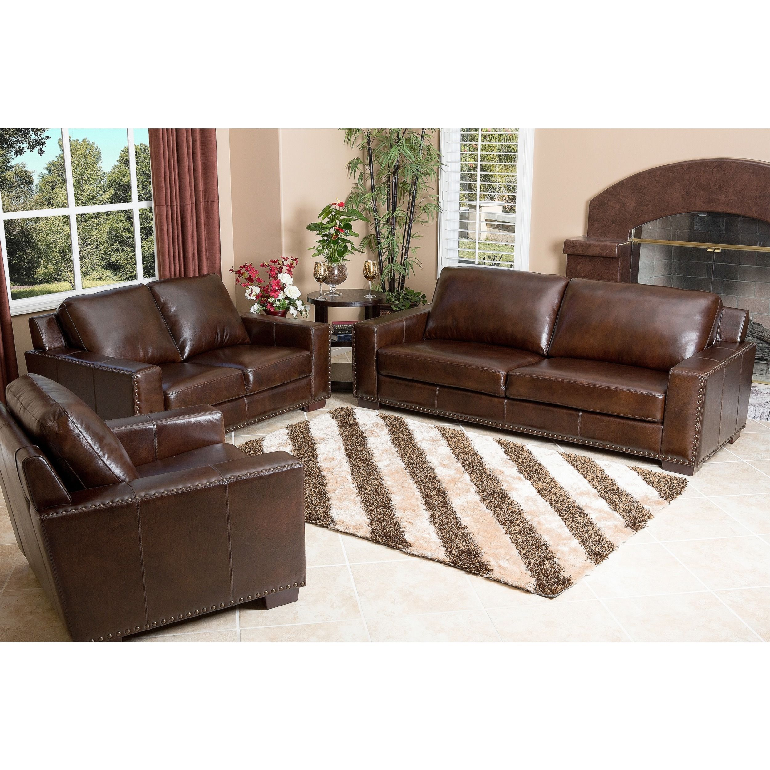 Abbyson Barrington Top Grain Leather 3 Piece Living Room Set With Images Top Grain Leather Sofa Leather Sofa Set Abbyson Living