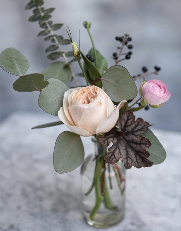 Bud Vase Small Centerpiece In Pale Tones And Dark Accents Bud Vase Centerpiece Wedding Small Vases With Flowers Small Flower Arrangements