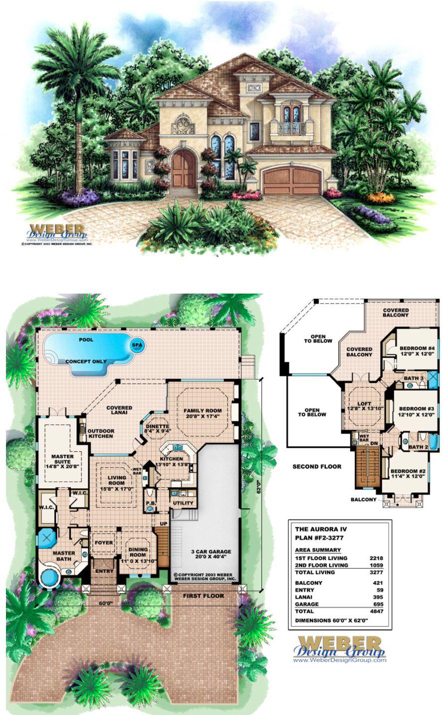 F2-3277 - Aurora IV - Two story Mediterranean house plan 4 Bedrooms, 3 full baths, 1 half bath, 3 car garage