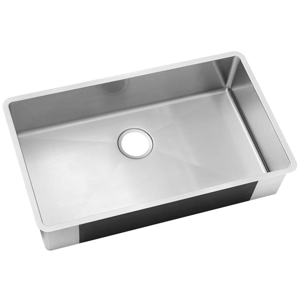 Elkay Undermount Stainless Steel 32 In 0 Hole Single Bowl Kitchen Sink Hdu32189f The Home Depot