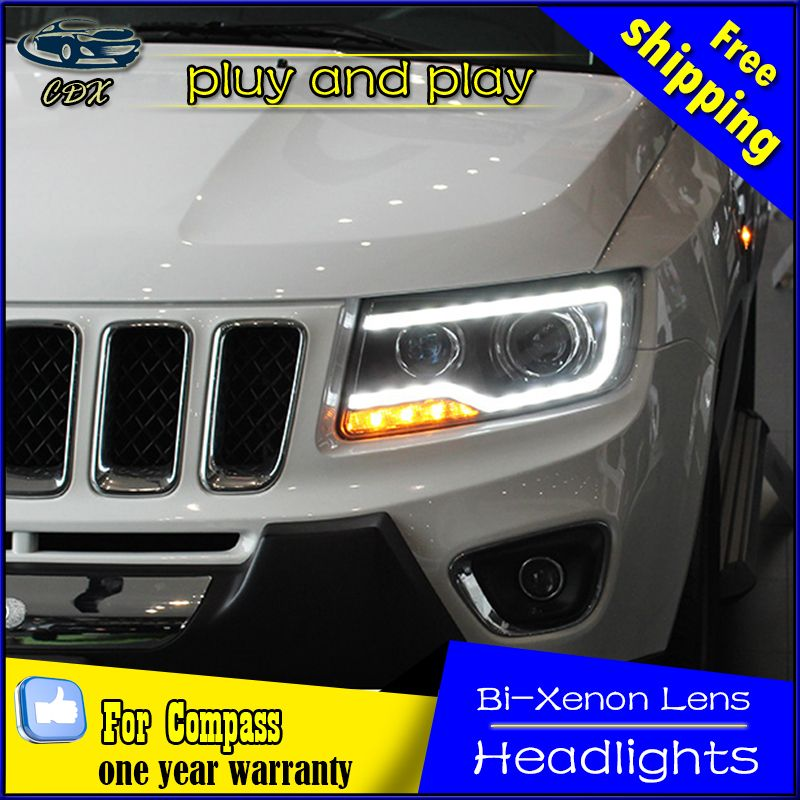 Car Styling Head Lamp For Jeep Compass Headlights Compass Led Headlight Drl Daytime Running Light Bi Xenon Hid Accessories Jeep Compass Car Led Headlights
