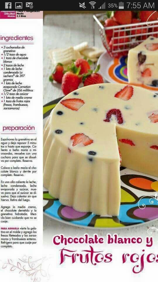 Gelatina Chocolate Blanco Y Frutos Rojos Recetas De Gelatina