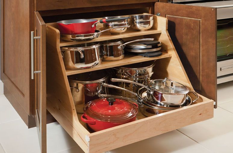 Simple Kitchen Ideas With Wooden Base Roll Out Pots Pans Organizer 3 Shelves Storage Workspace Kitchen Cabinet Storage Solid Wood Kitchen Cabinets Pan Storage