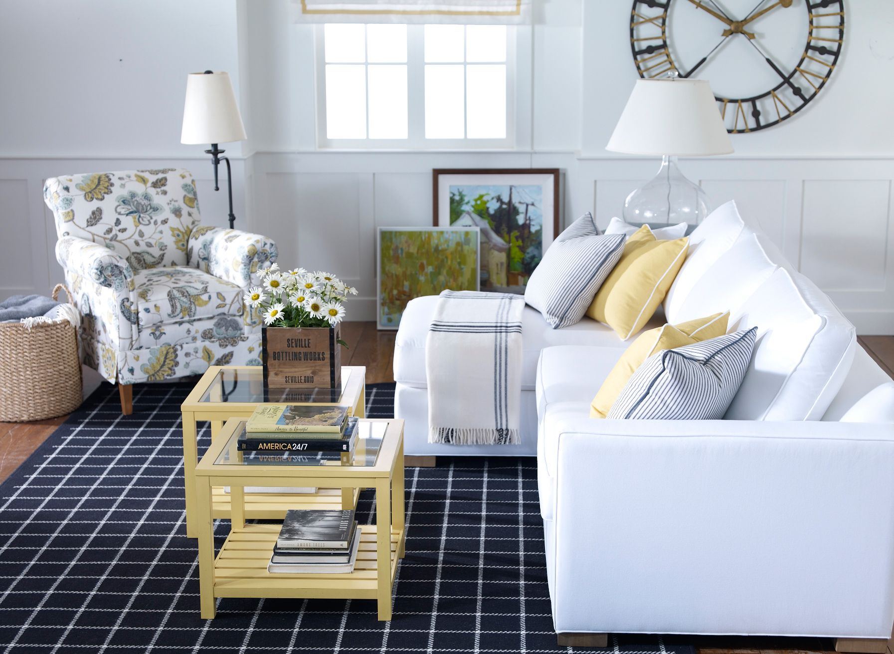 living room furniture ethan allen. Colored furniture  Ethan Allen blue white and yellow living room