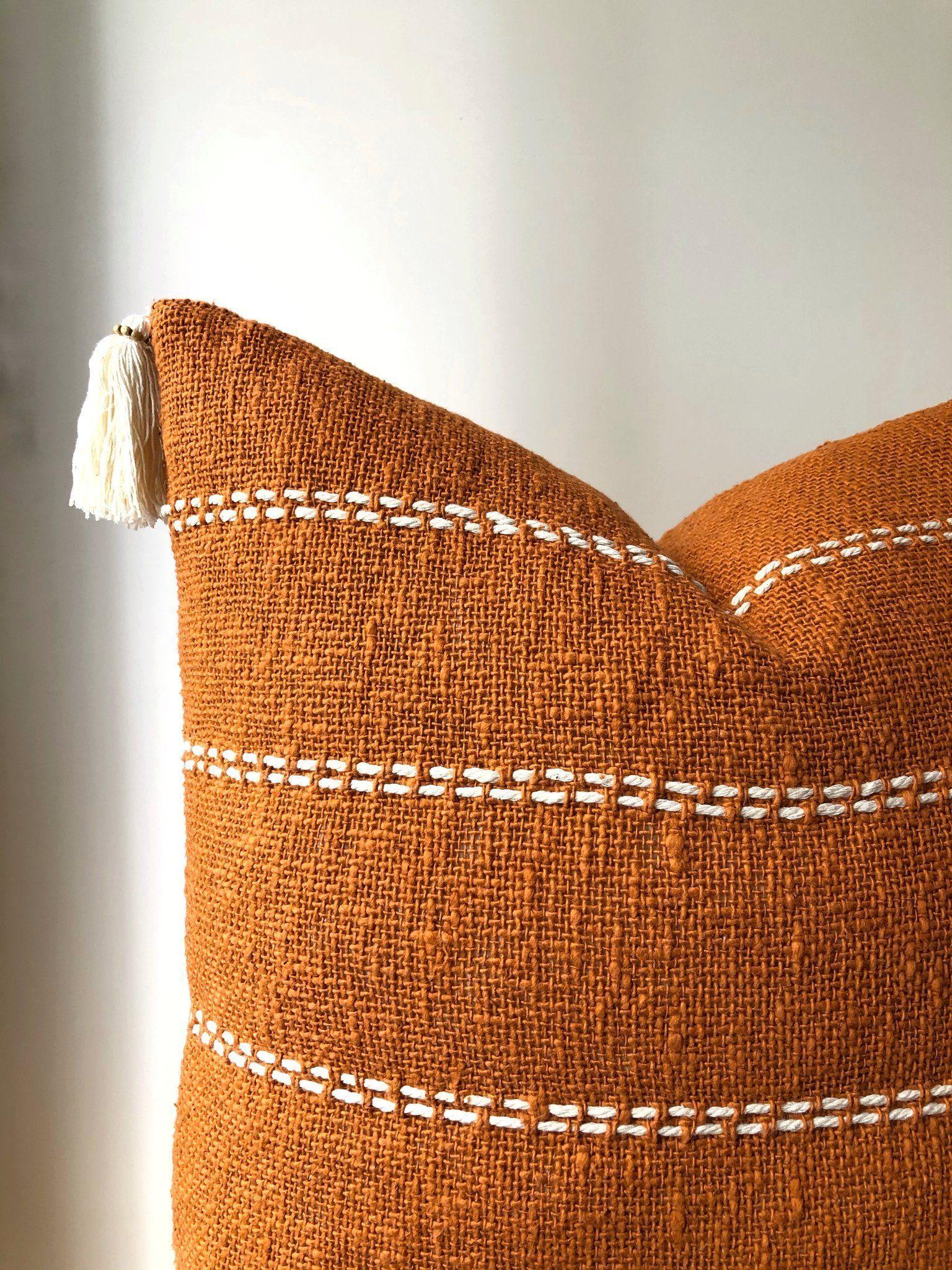 Aztec House | Burnt orange striped cushion | Boho pillow Australia | burnt orange boho pillows | burnt