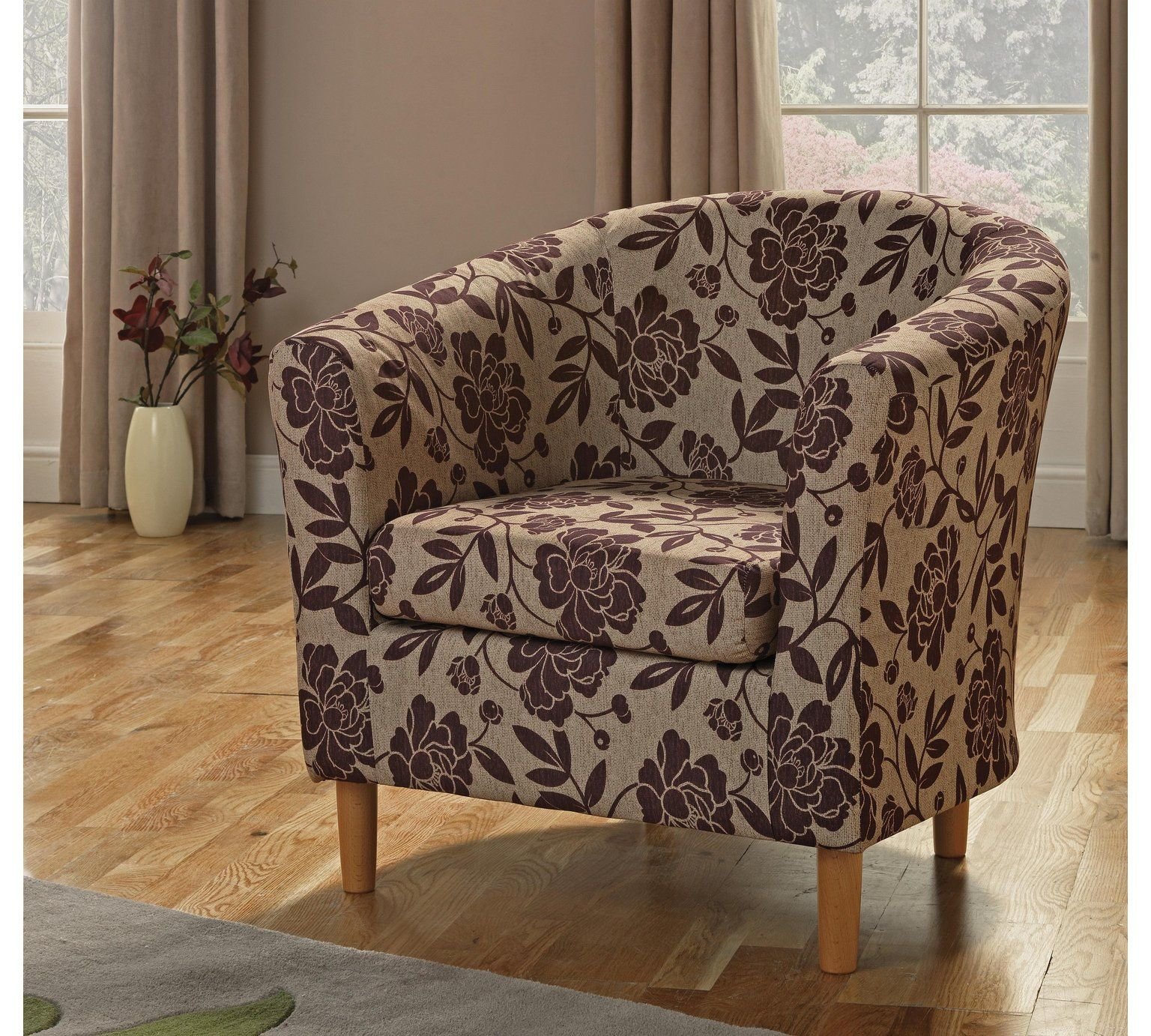 Buy HOME Floral Fabric Tub Chair - Cranberry at Argos.co.uk, visit ...