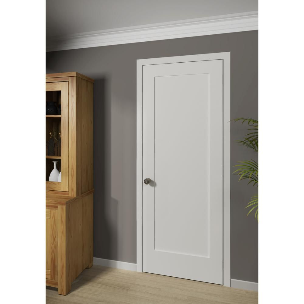 White 1 Panel Shaker Solid Core Wood Interior Door Slab