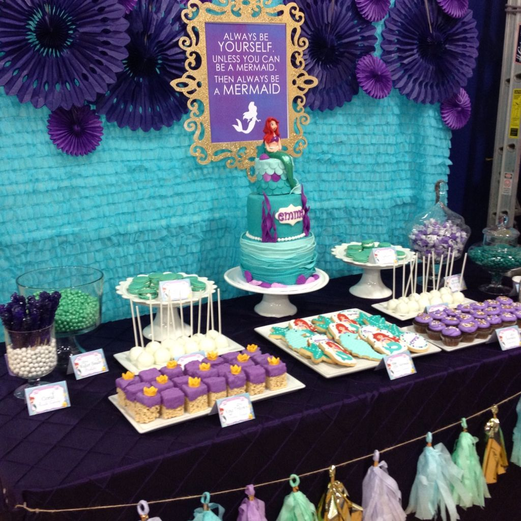purple themed bridal shower%0A Little Mermaid dessert table in teal  purple and gold by Tres Sweet