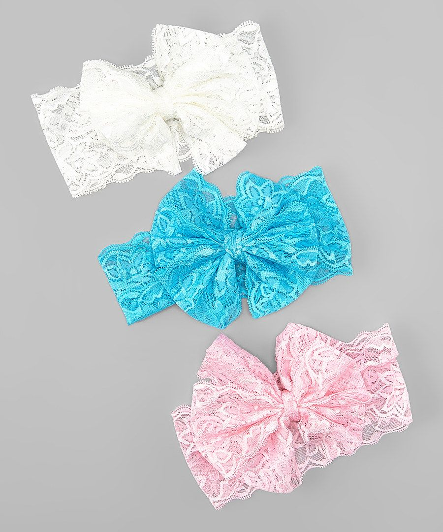 Look at this Blue & Pink Bow Headband - Set of Three on #zulily today!