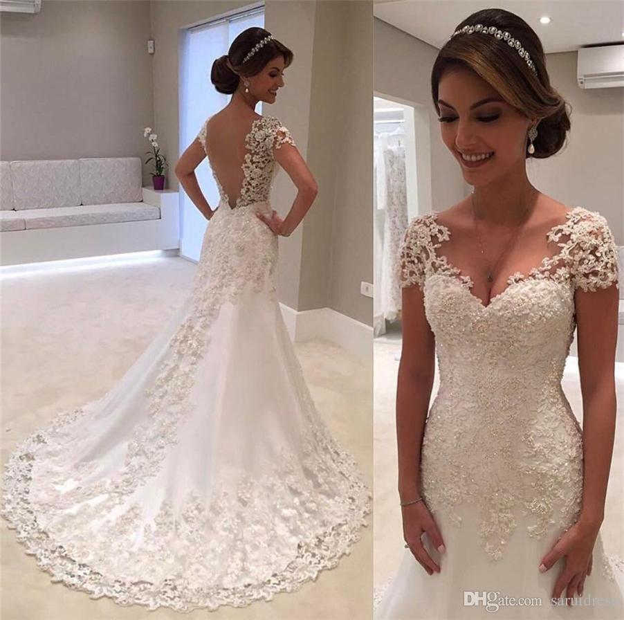 V Neck Appliqued Lace Illusion Back Bridal Dress Formal Gown For Brides Cap Sleeve Backless Bridal Gowns Wedding Dress Cap Sleeves Backless Lace Wedding Dress [ 896 x 902 Pixel ]