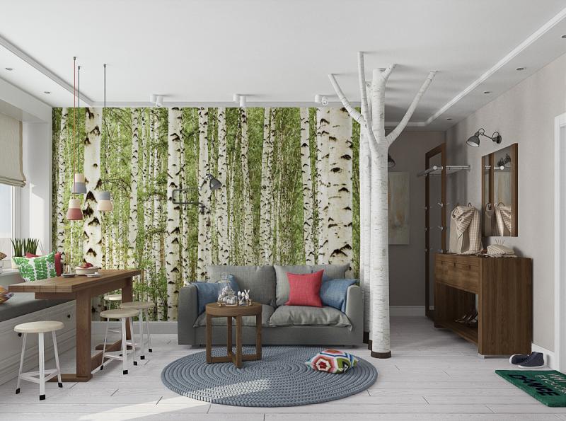 id es d co cool avec papier peint tronc de bouleau et. Black Bedroom Furniture Sets. Home Design Ideas