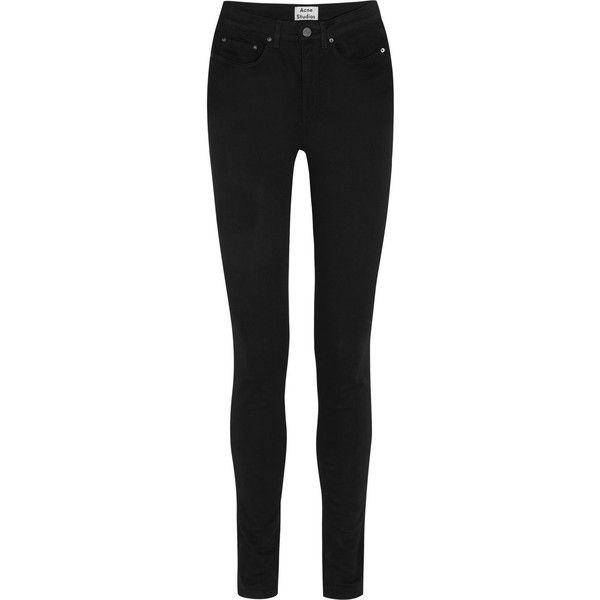 edb21694136 Acne Studios Pin Black high-rise skinny jeans ($235) ❤ liked on Polyvore
