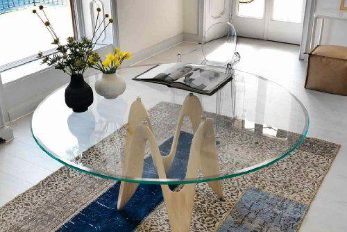 48u2033 Inch Round Glass Table Top, 1/2u2033 Thick, Beveled Edge