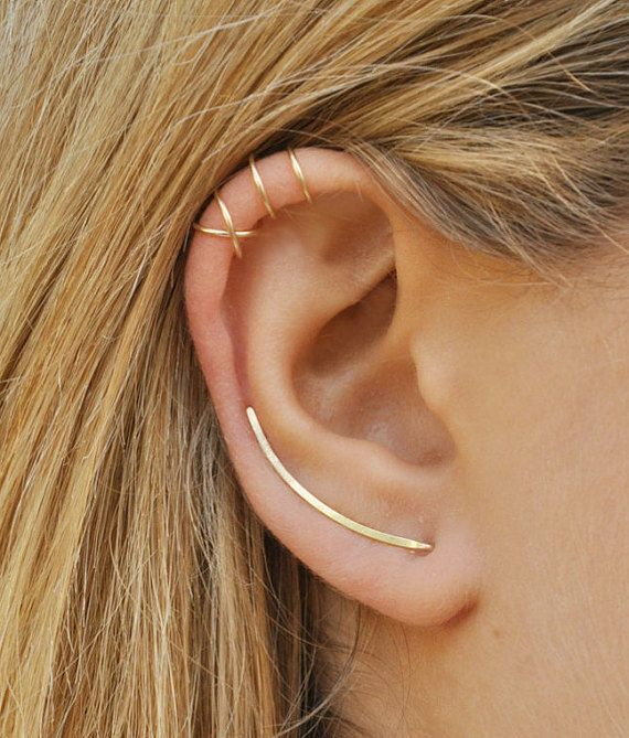 cfde61f00d4b4 Modern Minimalist Set of 3 - Smooth Ear Climbers, Ear Cuff, Double Ear Cuff,  Earring Climbers 30mm,