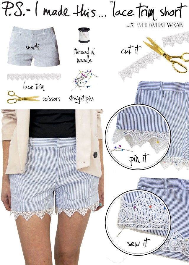 b8cd641fc929 Lace ended shorts. I ve been wanting to do something like this! 20 DIY  summer shorts for Crazy Summer