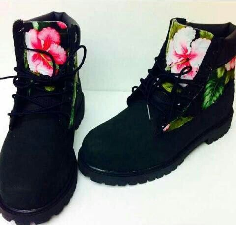 Floral Print Timberland (BLACK). Shoe GameTims ...
