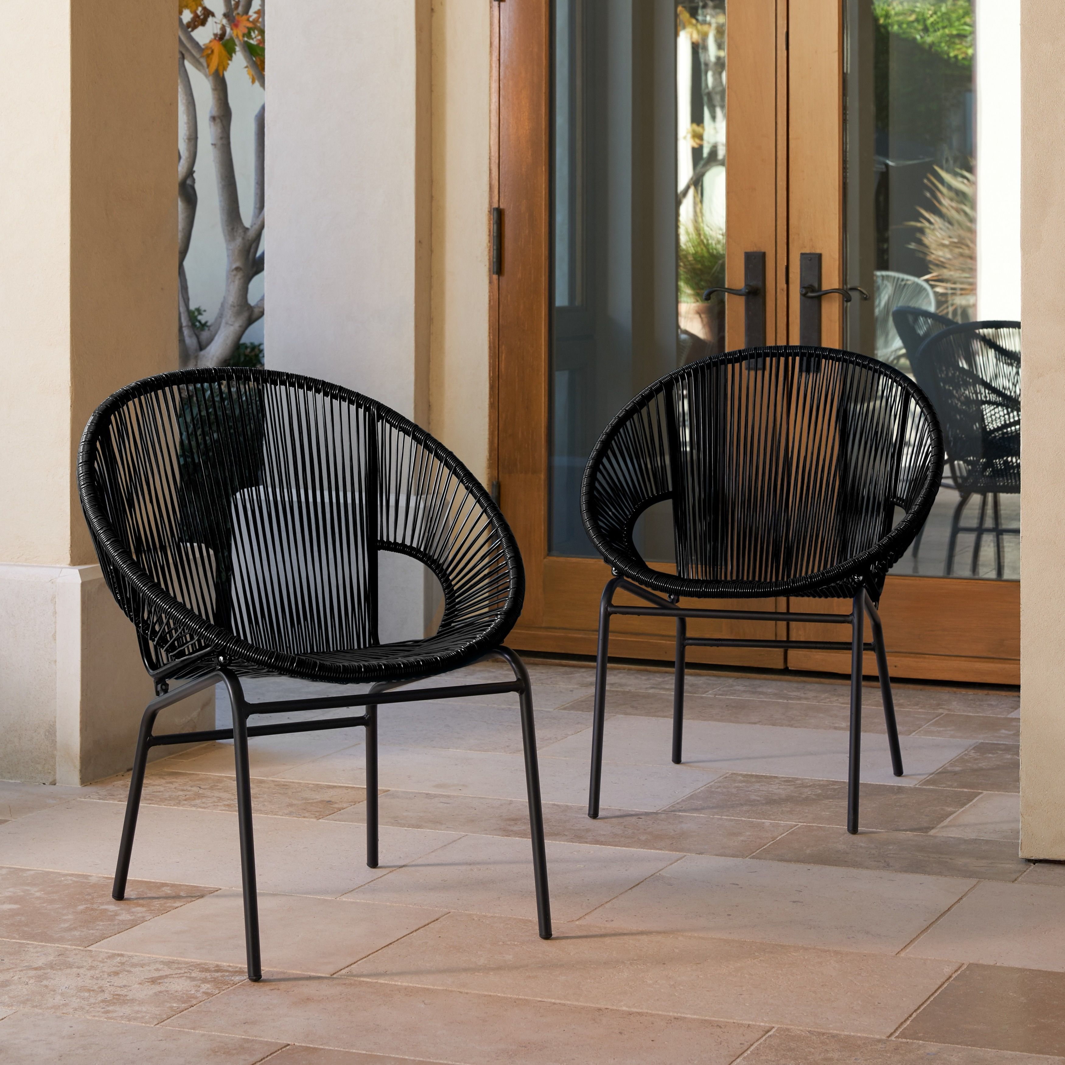 Corvus Sarcelles Woven Wicker Patio Chairs Set Of 2 Free Shipping Today 17805619