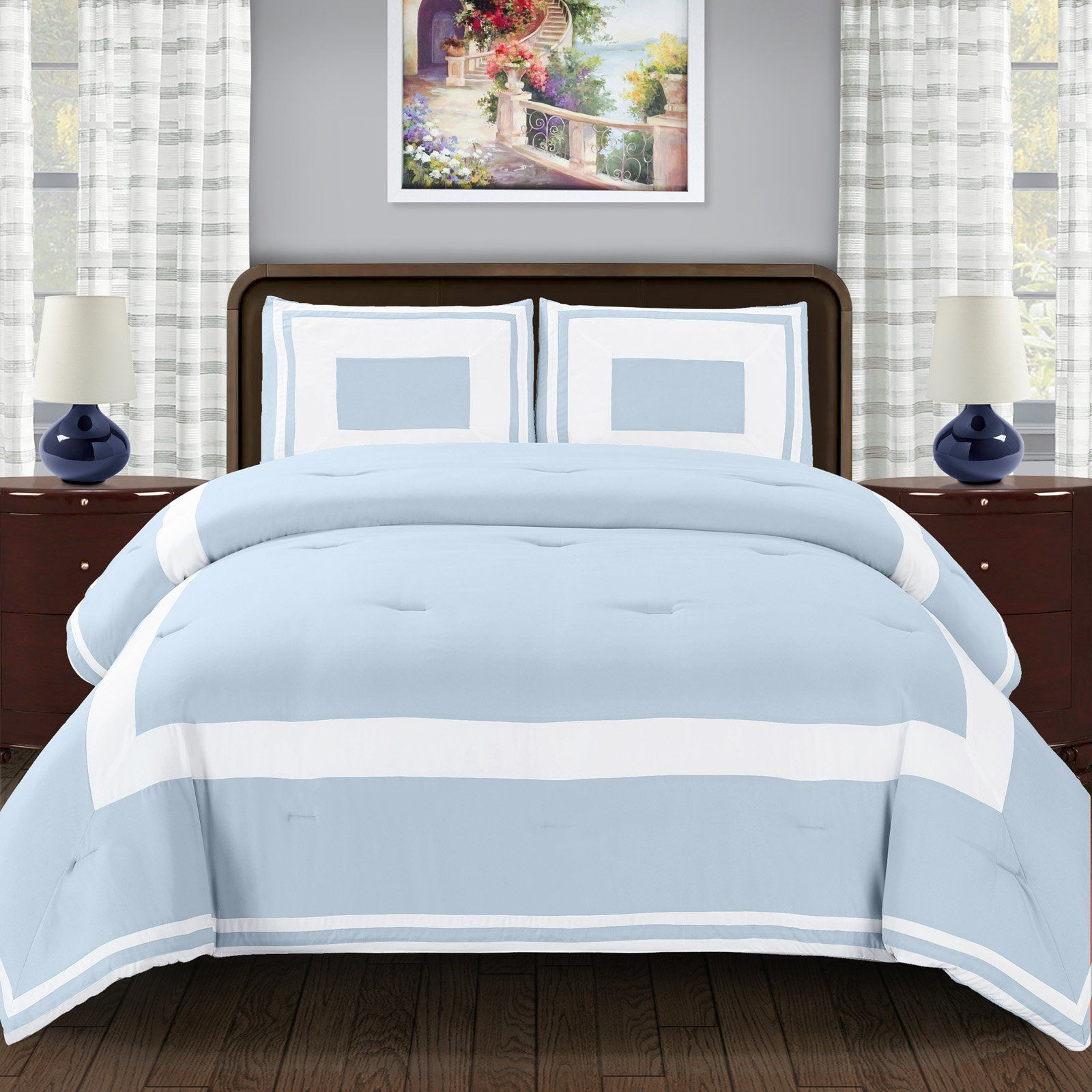 Superior Grammercy Color Blocked Comforter Set with Pillow Sham Luxury Hotel Bedding with Soft Microfiber Shell All Season Down Alternative Fill Twin//Twin XL Coral
